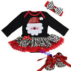 Xmas Baby Red Leopard Bling Santa Long Sleeves Romper Bodysuit Party Dress Shoes