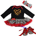 Xmas Baby Red Leopard Heart Long Sleeves Romper Bodysuit Party Dress Crib Shoes