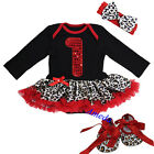 Xmas Baby Red Leopard Bling 1st Long Sleeves Romper Bodysuit Party Dress Bow