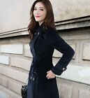 Elegant Womens English-style Peacoat Double Breasted Slim Fit Winter Trench Coat