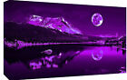 Purple Plum Moonlit Lake Cotton Canvas Wall Art Picture Print - A1, A2 sizes