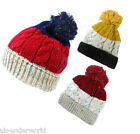 MENS LADIES CHUNKY CONTRAST SPECKLE CABLE KNIT OVERSIZE SLOUCH SKI BEANIE HAT