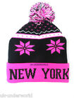 CHILDRENS GIRLS BOYS NEW YORK FAIRISLE NORDIC BEANIE FOLD UP KNIT SKI WINTER HAT