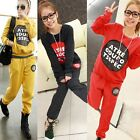 New Womens Thick Track Suits Casual Letter Print Hoodie Pants Sports Sweatshirts