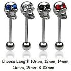 New Gem Eyes Skull Tongue Bar Barbell Goth Tounge Stud Piercing Surgical Steel