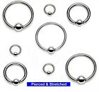 316L Surgical Steel Captive Ball Ring BCRs CBRs Hoops 1.2mm x 6mm, 8mm or 10mm