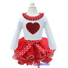 Girls Valentine's Day Red White Tutu Bling Heart Polka Dots Long Sleeves Tee 1-7