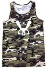 NEW MEN'S PRINTED SKULL BUNNY PRO-5 CAMOUFLAGE MMA ARMY COTTON CAMO TANK TOP
