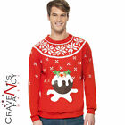 Adult Christmas Jumper Mens Pudding LIGHT UP Fancy Dress Costume Xmas New