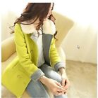 Hot New Women Faux Fur Collar Slim lapel double-breasted Wool blend Coat Jacket