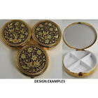 Damascene Gold Dove & Flower Design Round Pill Box by Midas of Toledo Spain 8531