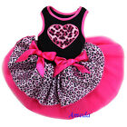 Valentine's Day Hot Pink Black Tutu Leopard Heart Party Dress Cat Pet Small Dog