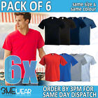 6x FOTL V-NECK TSHIRT,PLAIN BLANK UNISEX MENS WOMENS ADULTS BULK PACK TOP 61066