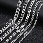 Jewelry Watches - 18-36'' MENS Stainless Steel 3/5/7/9/11mm Silver Tone Cuban Curb Chain Necklace