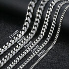 "16""-36"" Stainless Steel Silver Chain Cuban Curb Women Mens Necklace 3/5/7/9/11mm"