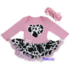 Newborn Baby Pink Cowgirl Heart Bodysuit Tutu Party Dress Romper Jumpsuit 0-18M