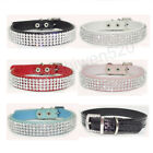 Dog Cat Rhinestone Collar Crystal Diamond Pet Dog Puppy Pu Leather Collar S M L