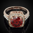 18K Rose Gold GP Clear Crystal Center Red Stone Engagement Wedding Ring IR001C