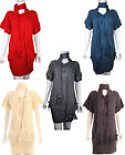 New Ladies Knitwear Scarf Ruched Short Sleeve Dress Jumper Cardigan Womens Size