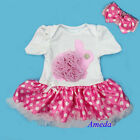 Baby Easter Polka Dots Pink Tutu Pearl Rose Bunny Romper Bodysuit Party Dress