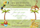 12 PERSONALISED JUNGLE PARTY INVITATIONS - DIFFERENT DESIGNS