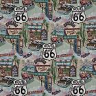 A011 Route 66 Motel Diner Gas Pump Tapestry Upholstery Fabric By The Yard