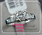 Size 6-9 18K White Gold 0.5ct Engagement SILVER Solitaire Ring SWAROVSKI R001W