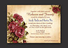 RED ROSE VINTAGE SHABBY PERSONALISED WEDDING INVITATIONS