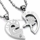 His and Hers Stainless Steel I Love You Heart Lock & Key Couple Pendant Necklace