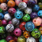 100 - 300 10mm Round Beads Snake Skin Pattern in Different Cols Jewellery Making