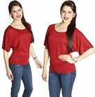 S~X Boatneck Slouchy Batwing Dolman Kimono Sleeve Loose Fit Jersey Tee Shirt Top