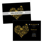 Personalised wedding thank you cards FLORAL SWIRL HEART GOLD BLACK FREE ENVELOPE