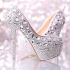 Sparkly Silver Handmade Diamond Bead Rhinestone Wedding Bridal shoes High Heels