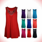 New Ladies Sleeveless Long Stud Top Womens Plus Size Stretch Scoop Neck B-6679