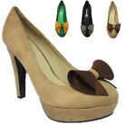 WOMENS LADIES HIGH HEEL PLATFORM POINTED COURT  PUMPS WITH BOW SHOES