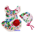 NEW Lovely Girls Light Pink Red Flower Rose Tutu One Piece Swimsuit Hat 2-8Y