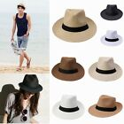 Pure Colour Men Women Fedora Trilby Cowboy Cap Beach Sun Summer Straw Panama Hat