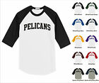 Pelicans College Letter Team Name Raglan Baseball Jersey T-shirt