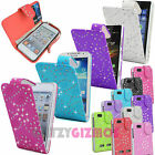 CRYSTAL DIAMOND JEWEL BLING PU LEATHER FLIP CASE COVER FOR VARIOUS MOBILE PHONES