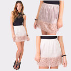 Hidden Fashion Womens Ladies Mid Rise Satin Sheen Floral Lace Hem Slip Skirts