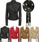 NEW Ladies Womens STUD BIKER JACKET Crop FAUX LEATHER ZIP Coat Size 8 10 12 14 1