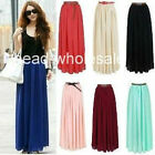 Women Retro Long Maxi Dress Double Layer Chiffon Pleated Elastic Waist Skirt