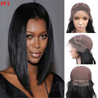 100% Indian Remy Human Hair Lace FRONT WIG YAKI Straight #1 Jet Black 8''-22''