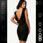Noble Black Textures Bodycon Slim Cocktail Dress with Ruffled Backless LC21078-2