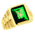 Freemason Green Square and Compass Gold Masonic Men's Ring Letter G Initial