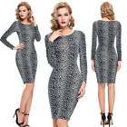 Elegant NEW long sleeve beaded BodyCon Bandage Sexy Party Evening Cocktail Dress