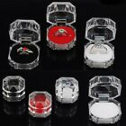 12 Clear Crystal Ring Box Earrings Brooch Storage Display Case Organizer Jewelry