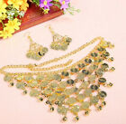 Belly Dance Golden Silver Coins Tribal Necklace+A Pair of Earring