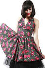 Dead Threads Rose Vintage 50s Rockabilly Swing Pin Up Prom Party Black Dress