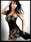 Ensemble lingerie sexy nuisette babydoll nightgown noire broderie S - M - L